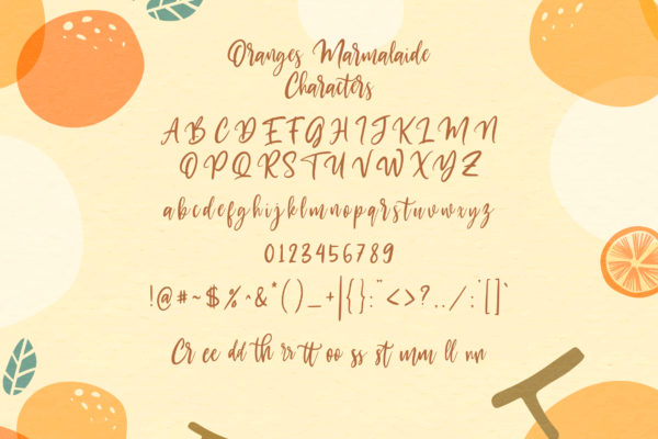 Oranges Marmalaide in Brush Fonts