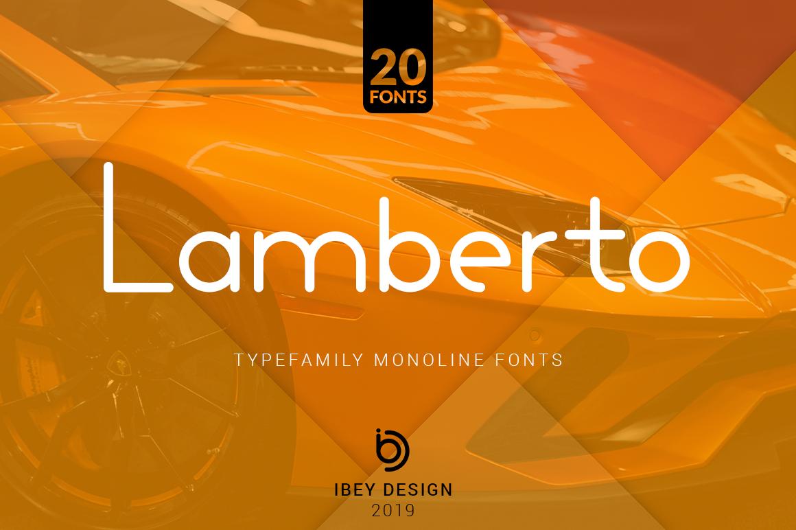 Lamberto - 20 Monoline Fonts in Display Fonts
