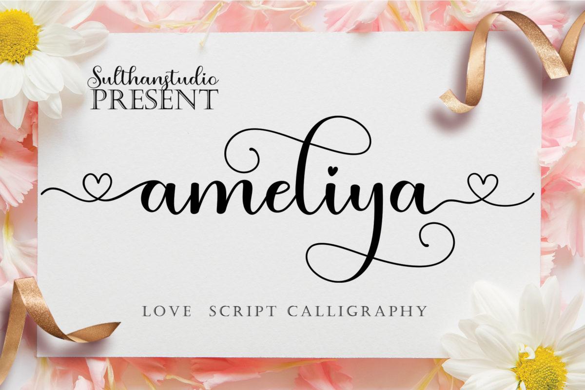 Ameliya script in Script Fonts