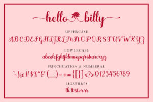 Hello Billy in Calligraphy Fonts