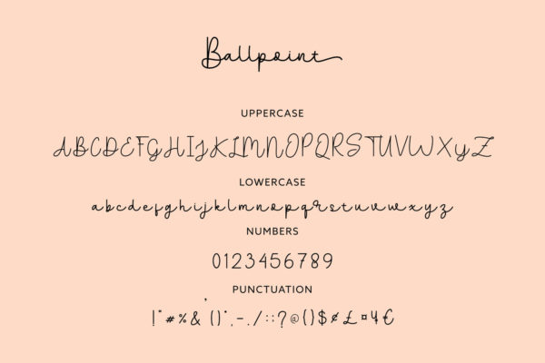 Ballpoints in Handwriting Fonts