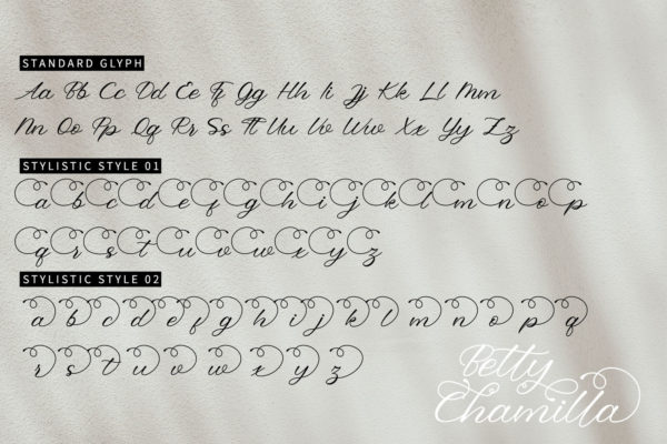 Betty Chamilla in Handwriting Fonts