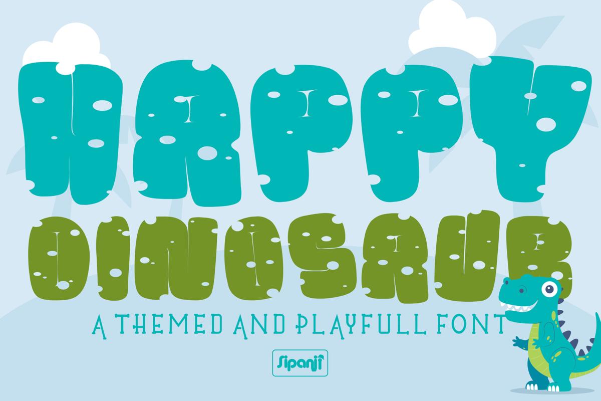 Happy Dinosaur in Display Fonts