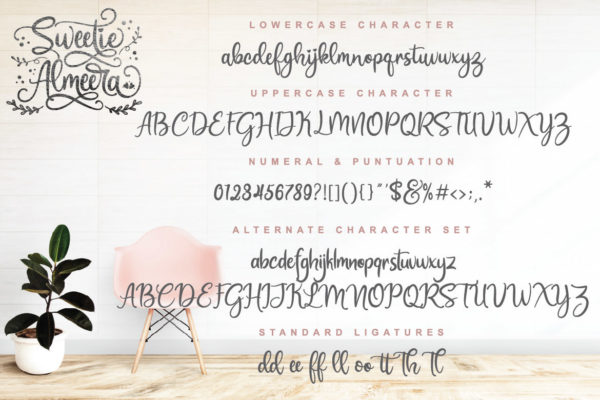 Sweetie Almeera Font Duo in Calligraphy Fonts