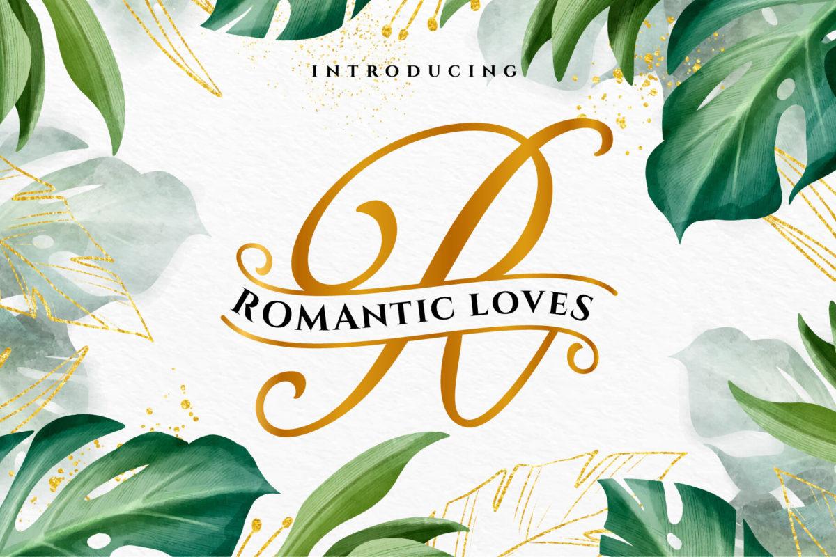 Romantic Loves Monogram in Decorative Fonts