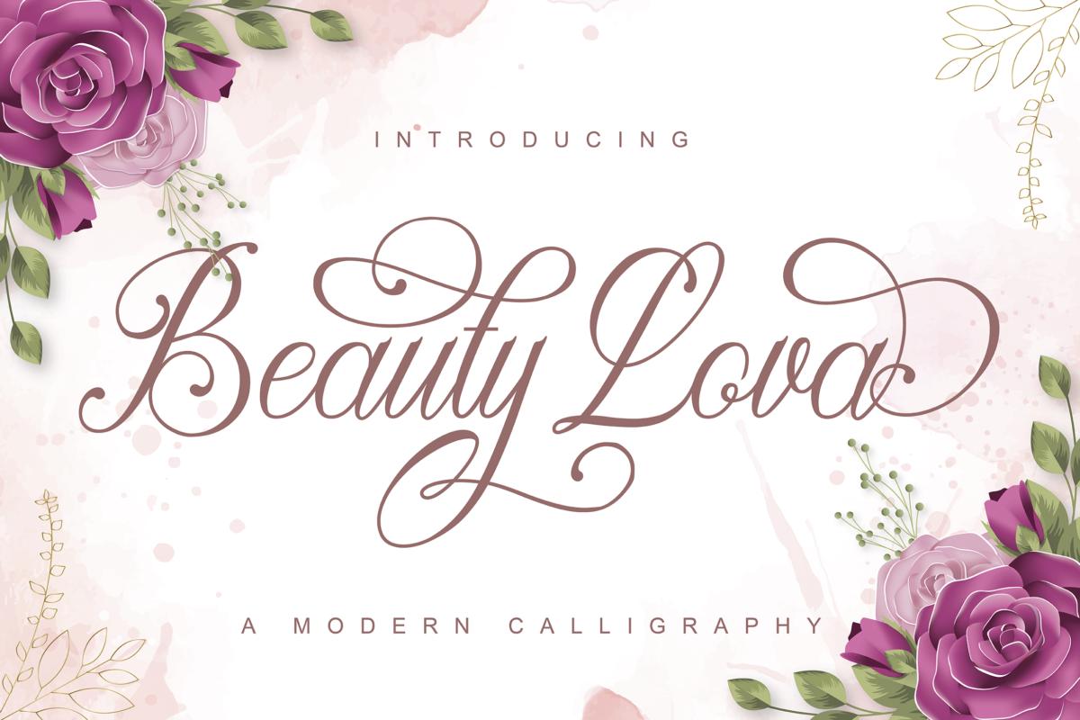 Beauty lova in Calligraphy Fonts