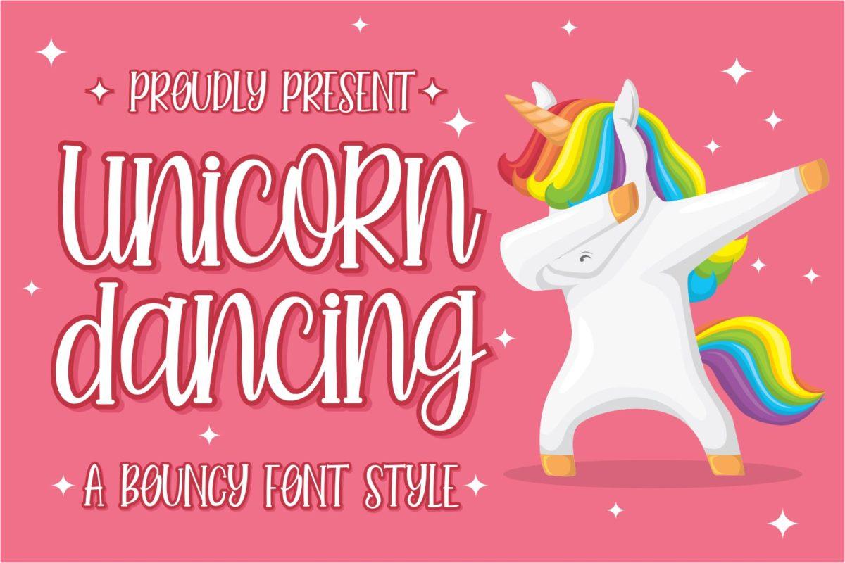 Unicorn Dancing in Display Fonts
