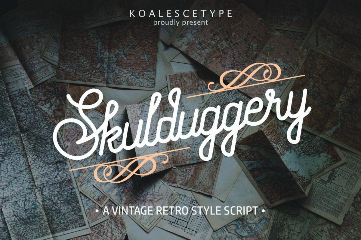 Skulduggery Vintage Retro Script Font in Calligraphy Fonts