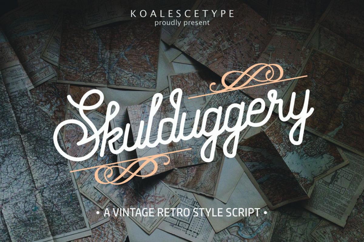 Skulduggery Vintage Retro Script Font in Script Fonts