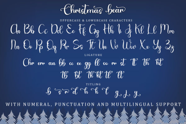Christmas Bear in Calligraphy Fonts