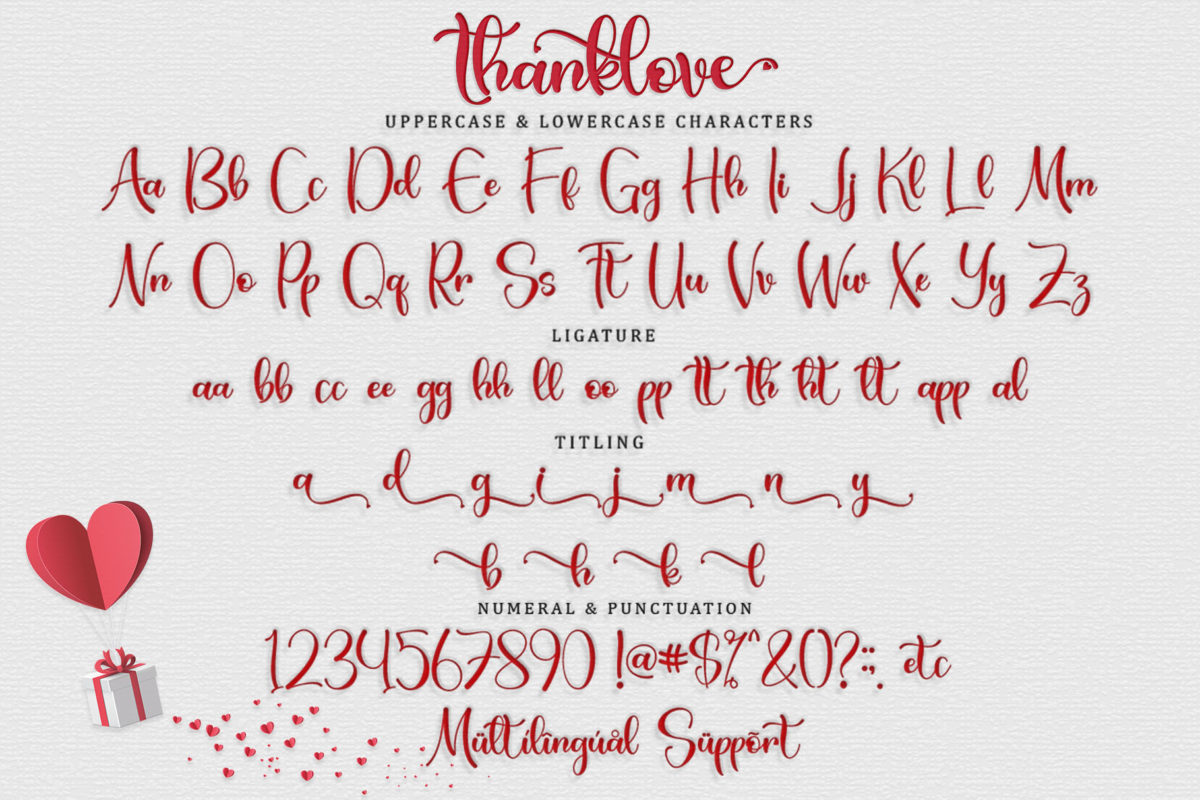 Thanklove in Calligraphy Fonts