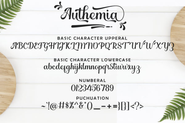 Authemia in Calligraphy Fonts