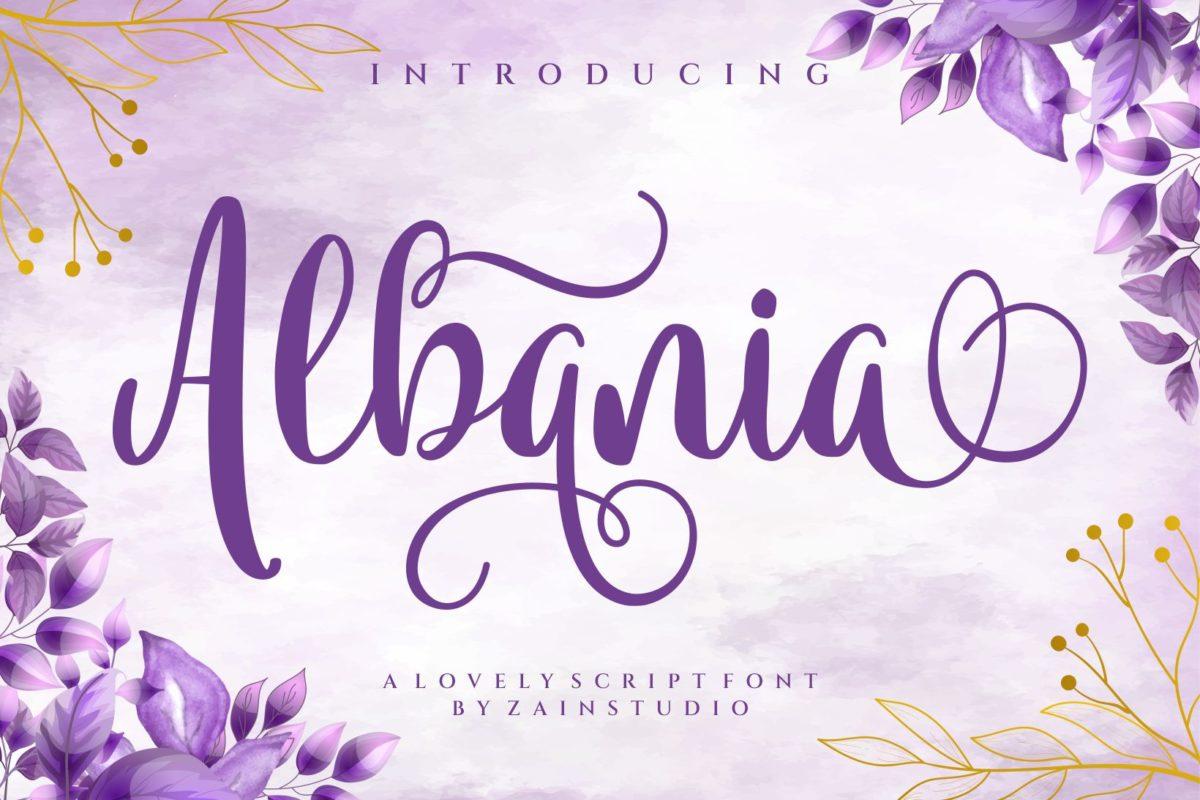 Albania in Script Fonts