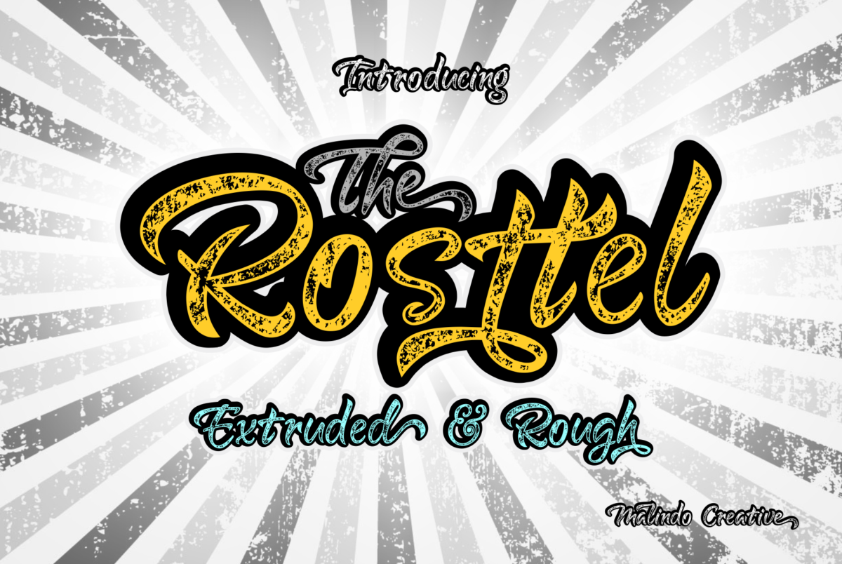 Rosttel Extruded & Rough in Script Fonts