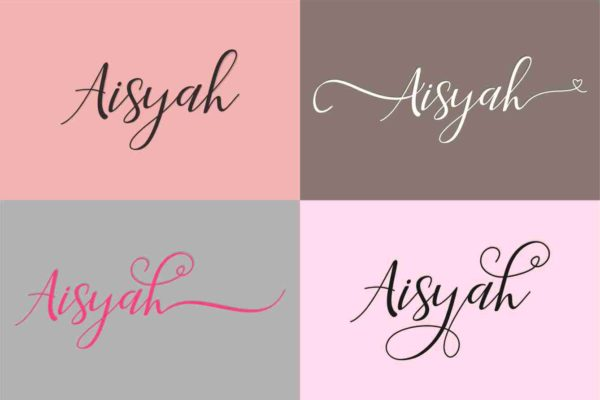 Aisyah in Calligraphy Fonts