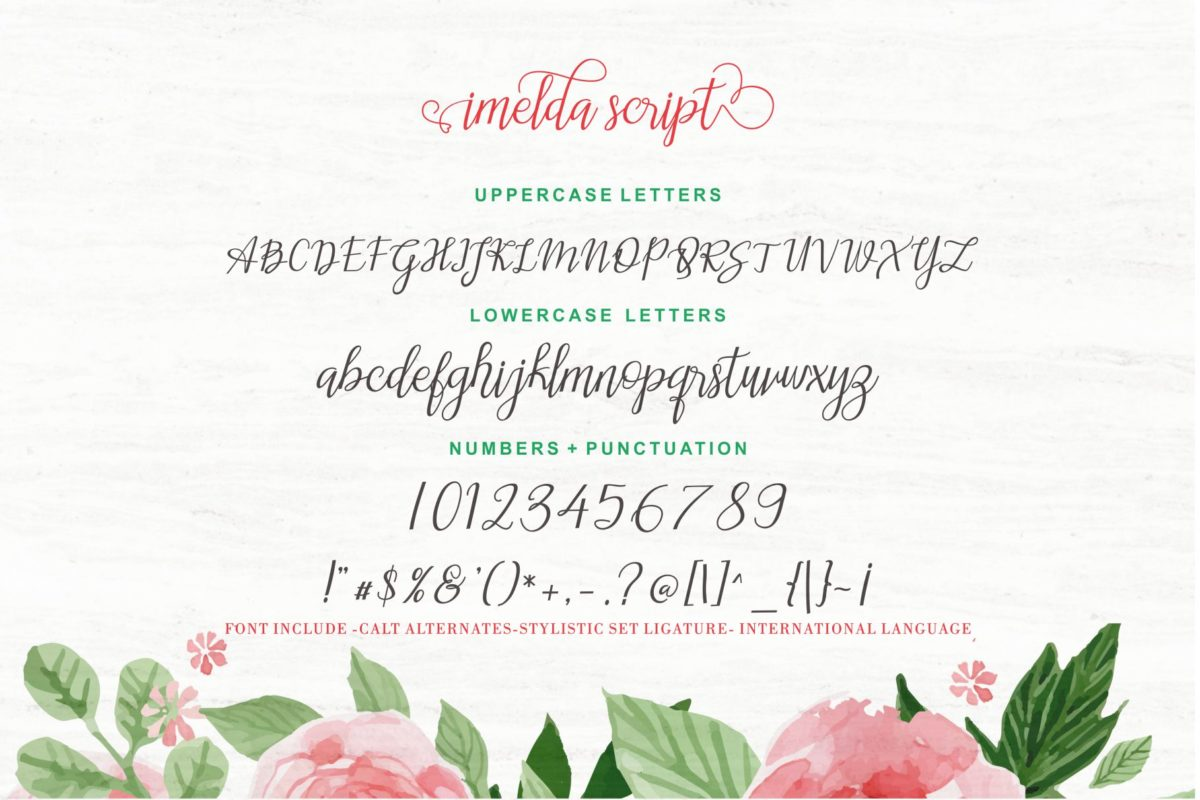 imelda in Calligraphy Fonts