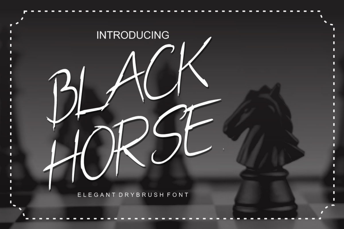 Black Horse in Brush Fonts