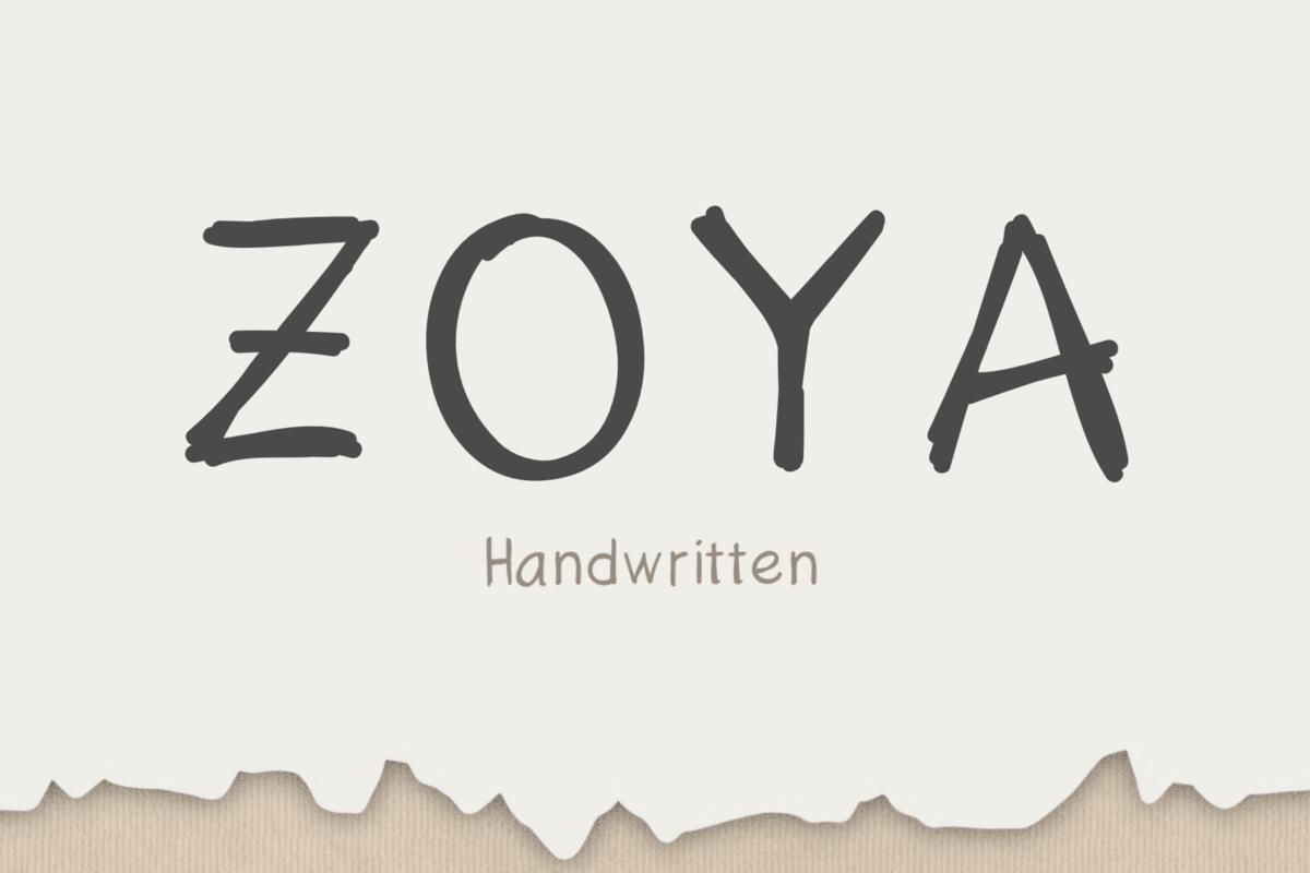 Zoya Hand in Handwriting Fonts
