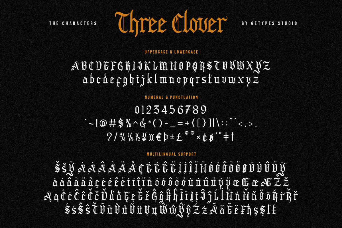 Three Clover - Blackletter Font in Blackletter Fonts