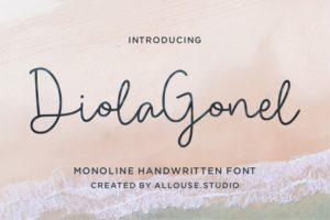 Diola Gonel - Monoline Handwritten Font in Calligraphy Fonts