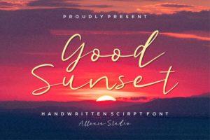 Good Sunset - Handwritten Script Font in Brush Fonts