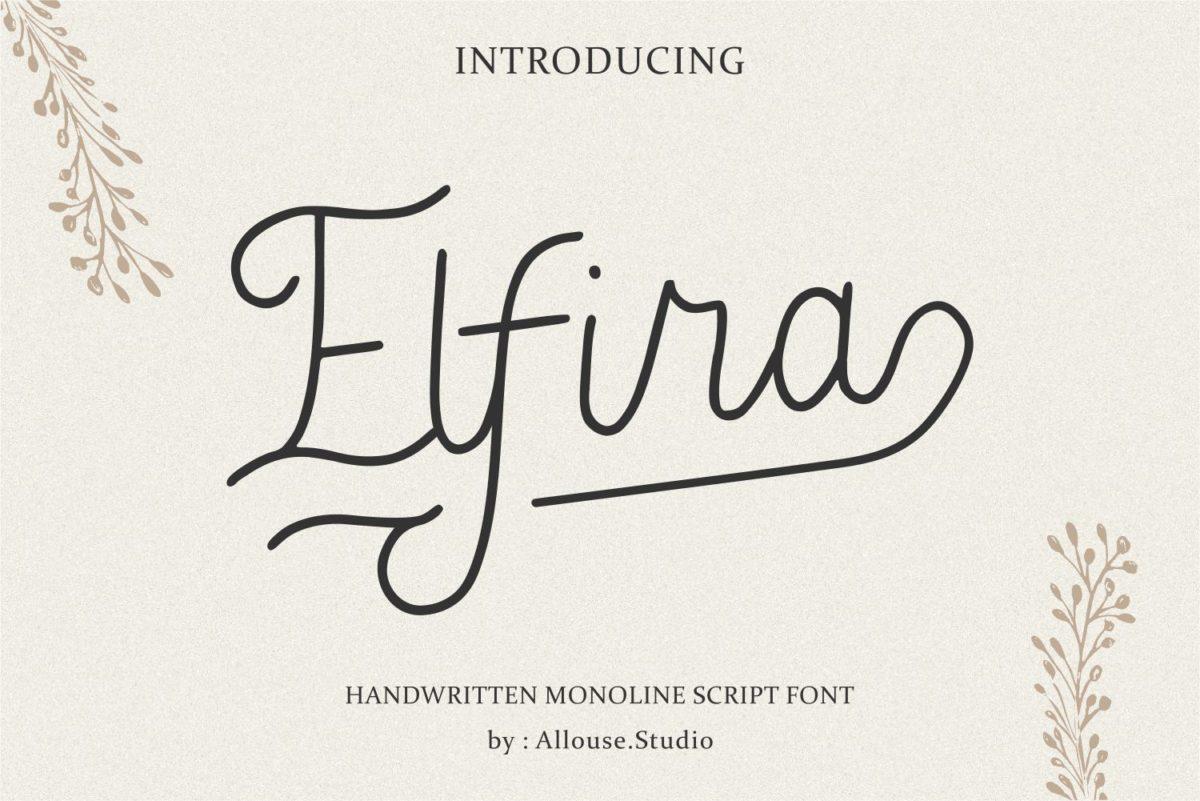 Elfira - Handwritten Monoline Script Font in Calligraphy Fonts
