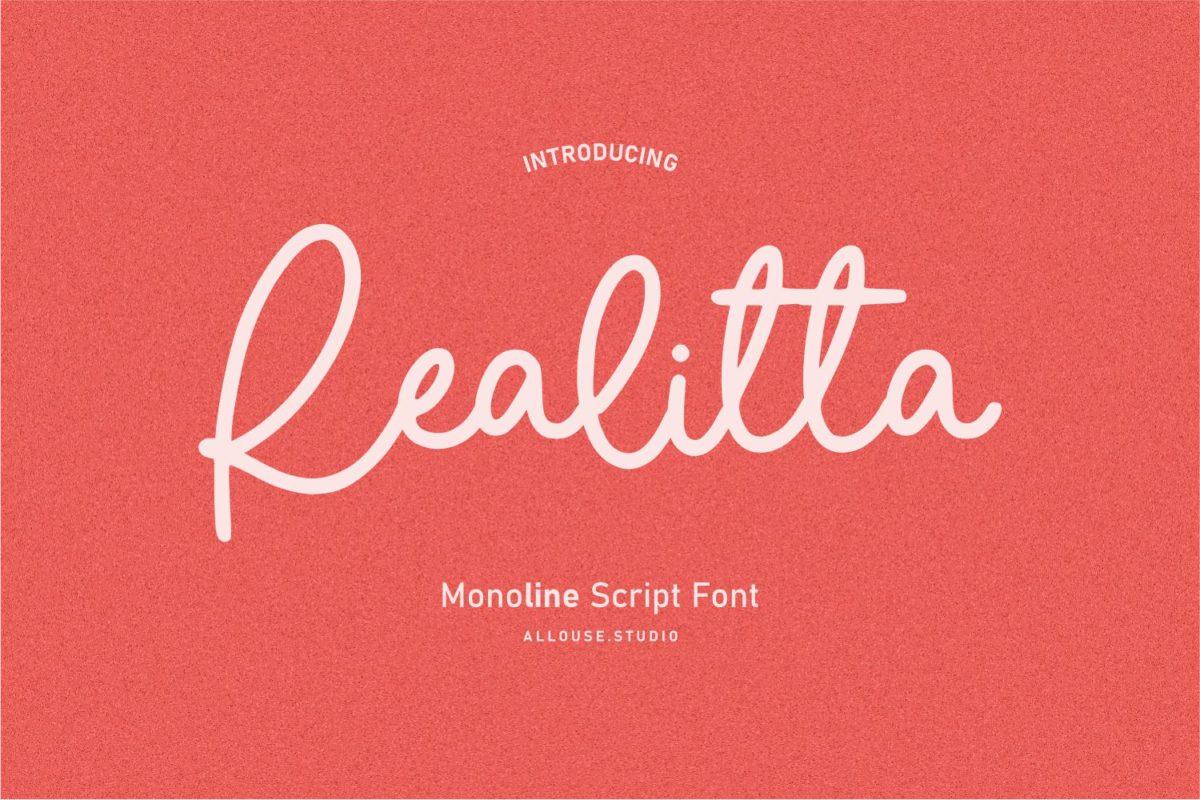 Realitta - Monoline Script Font in Display Fonts