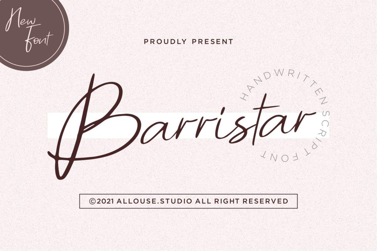 Barristar - Handwritten Script Font. in Calligraphy Fonts