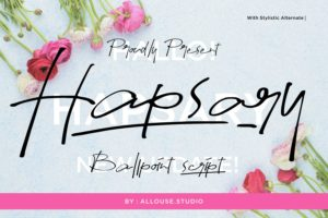 Hapsary - Ballpoint Script Font in Calligraphy Fonts