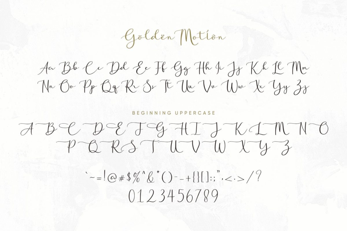 Golden Motion in Calligraphy Fonts
