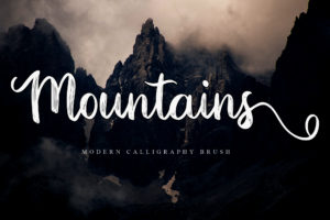 Mountains in Brush Fonts