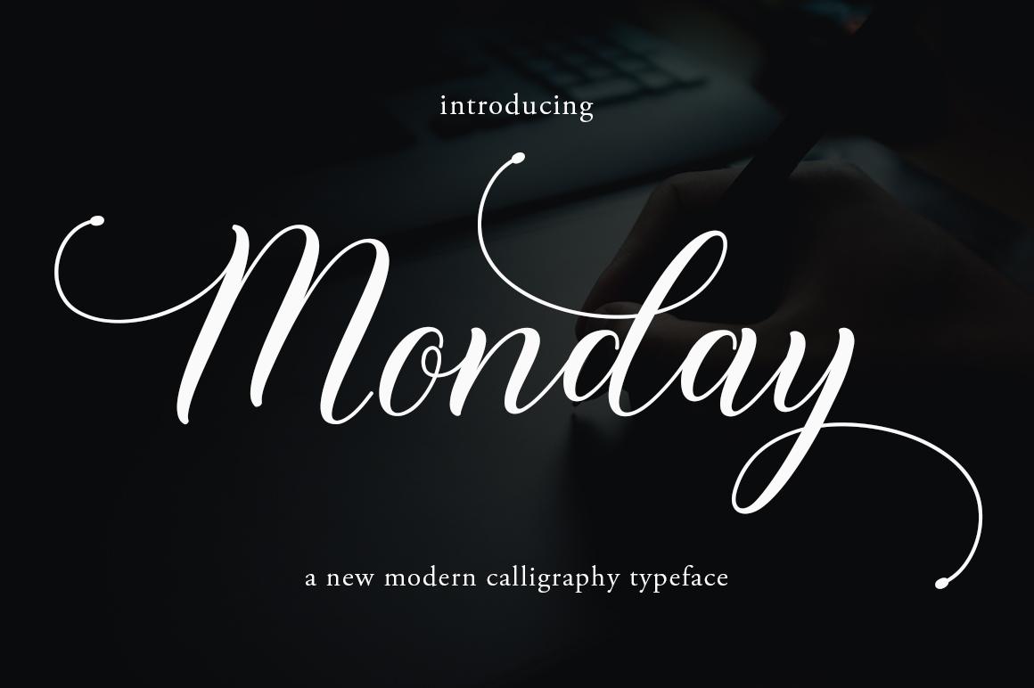Monday in Script Fonts