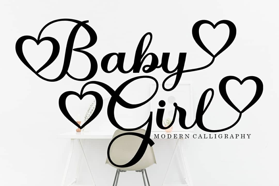 Baby Girl in Calligraphy Fonts