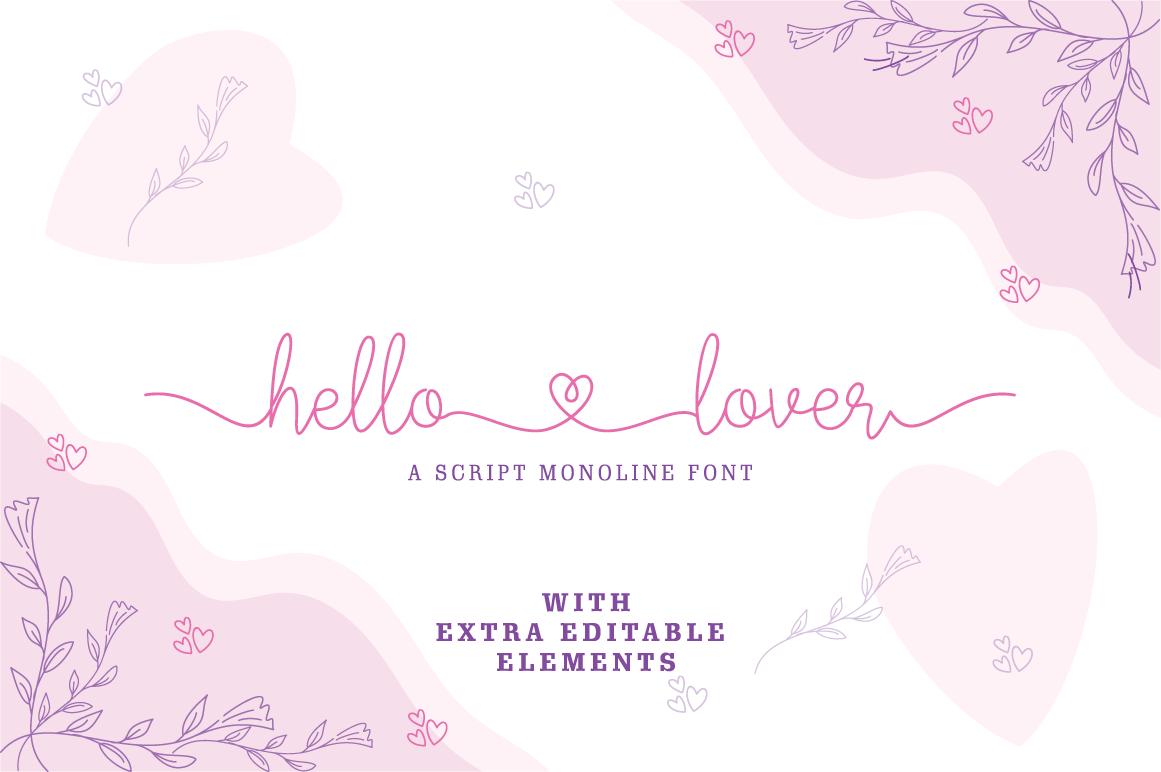 Hello Lover - Romantic Monoline Font in Calligraphy Fonts