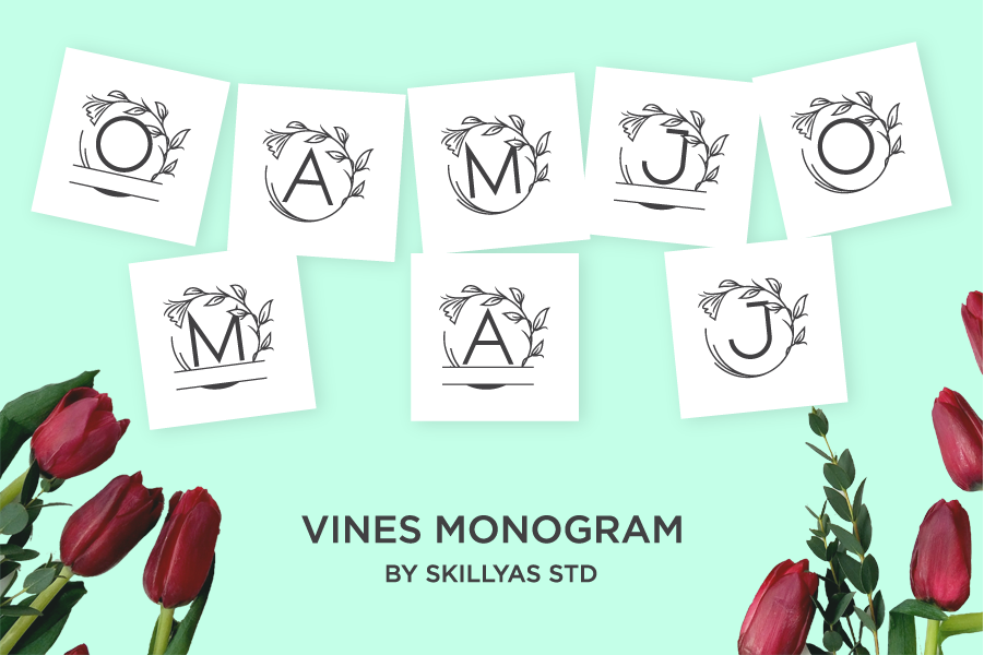 Vines Monogram Font in Decorative Fonts