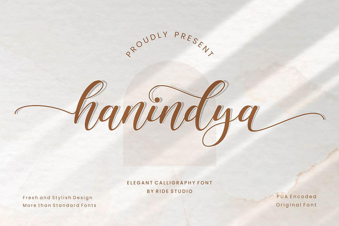Hanindya - Elegant Calligraphy Script Font in Script Fonts