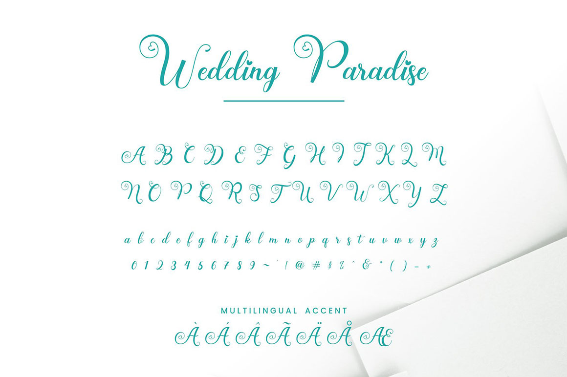 Wedding Paradise - Calligraphy Script Font in Calligraphy Fonts